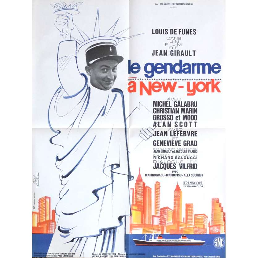 THE TROOPS IN NEW-YORK Movie Poster 23x32 in. - 1972 - Jean Girault, Louis de Funès