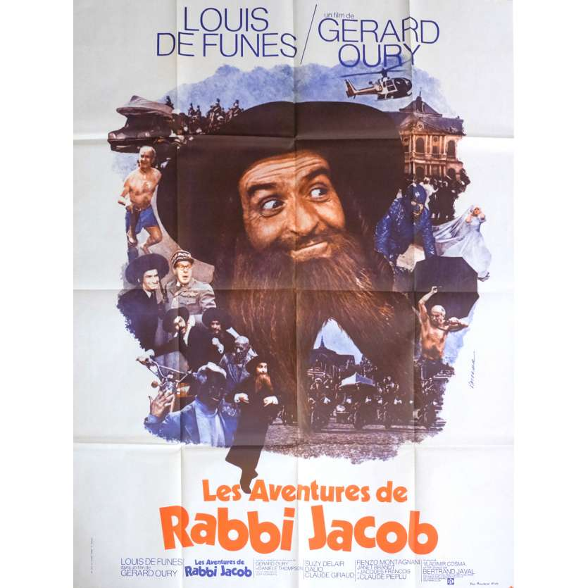 THE MAD ADVENTURES OF RABBI JACOB Movie Poster 47x63 in. - 1974 - Gérard Oury, Louis de Funès