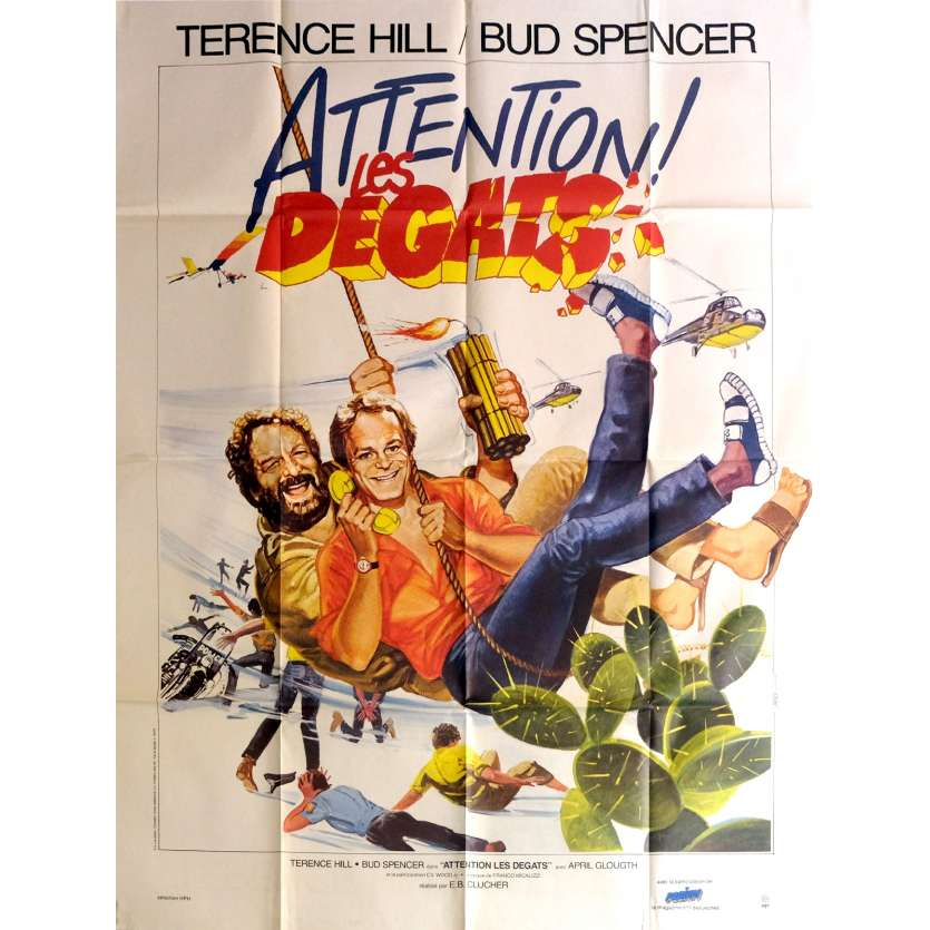 ATTENTION LES DEGATS Affiche de film 120x160 cm - 1984 - Terence Hill, Bud Spencer, Enzo Barboni