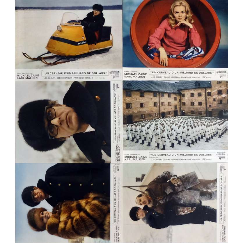 BILLION DOLLARS BRAIN Lobby Cards Jeu A, x6 15x21 in. - 1967 - Ken Russel, Michael Caine