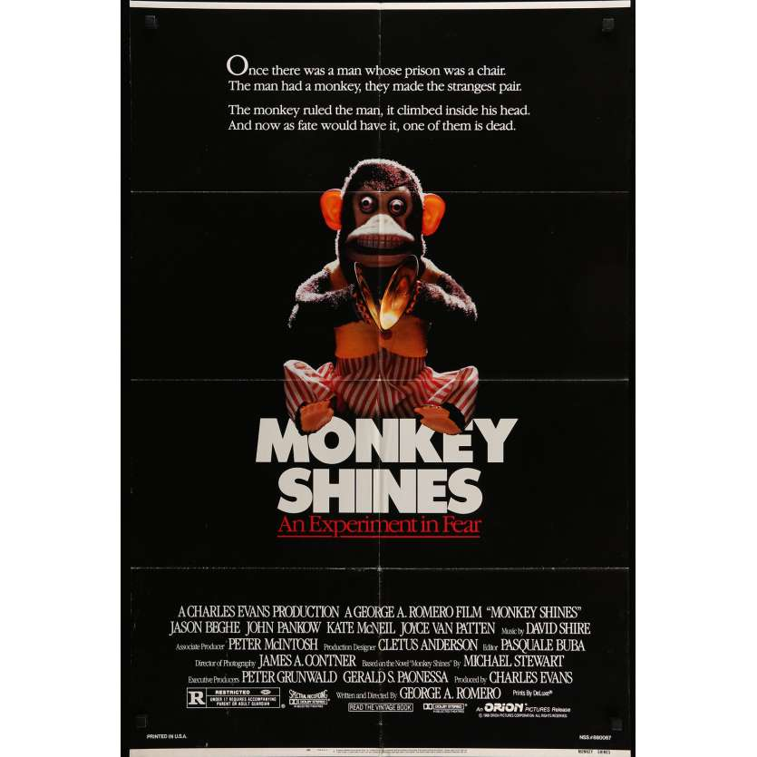 MONKEY SHINES Movie Poster 29x40 in. - 1988 - George A. Romero, John Pankow