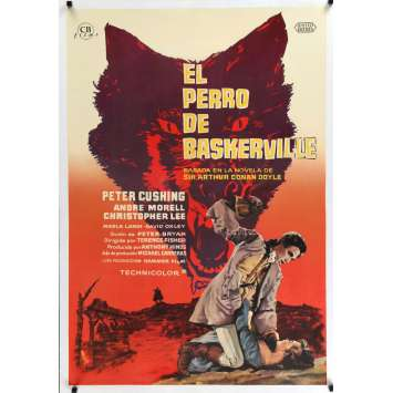 HOUND OF THE BASKERVILLES Spanish Linen Movie Poster 28x40 - 1960 - Terence Fisher, Peter Cushing