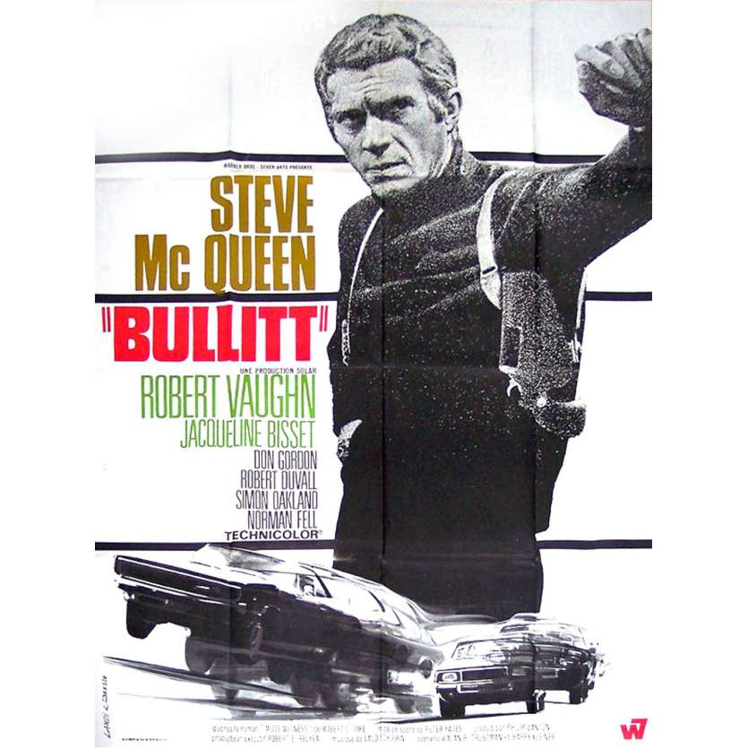 BULLITT French Movie Poster 47x63 '68 Steve McQueen, Peter Yates