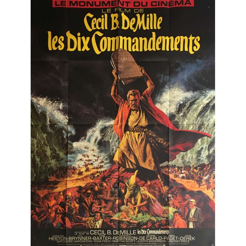 LES DIX COMMANDEMENTS Movie Poster 47x63 in. - 1980's - Cecil B. DeMille, Charlton Heston