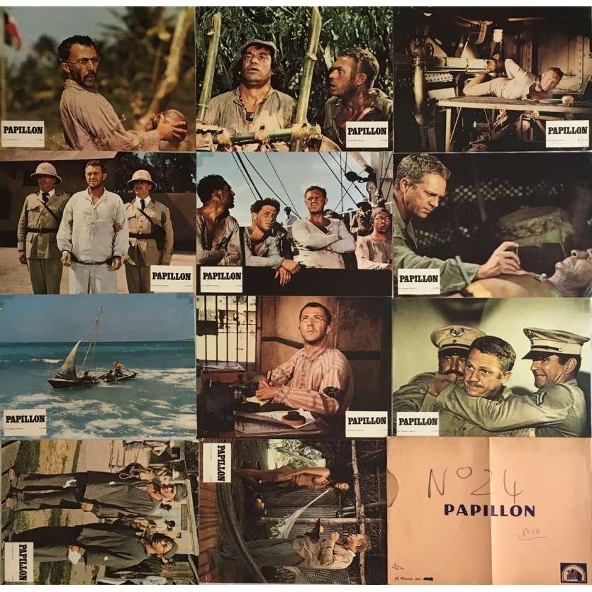 PAPILLON Lobby Cards x11 9x12 in. - 1973 - Franklin J. Schaffner, Steve McQueen