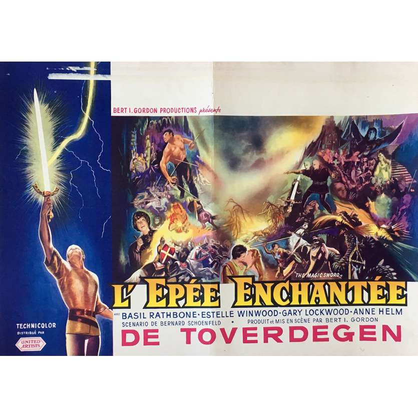 THE MAGIC SWORD Movie Poster 14x21 in. - 1962 - Bert I. Gordon, Basil Rathbone
