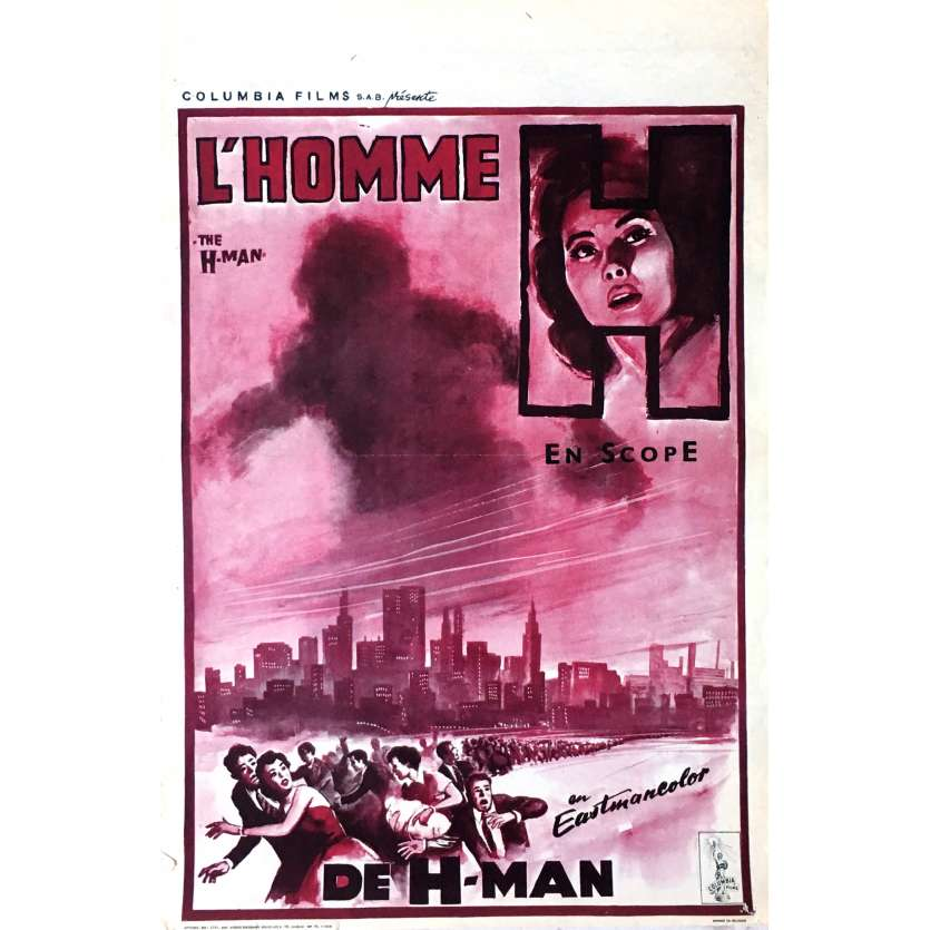 L'HOMME H Affiche de film 35x55 cm - 1958 - Yumi Shirakawa, Ishiro Honda