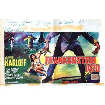 FRANKENSTEIN 1970 Movie Poster 14x21 in. - 1958 - Howard W. Koch, Boris Karloff