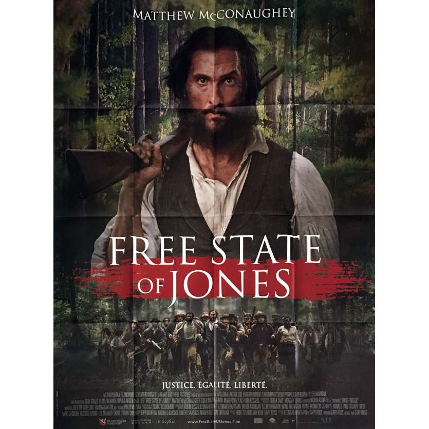 FREE STATE OF JONES Affiche de film 120x160 cm - 2016 - Gary Ross, Matthew McConaughey