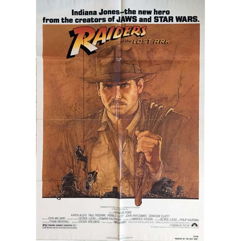 RAIDERS OF THE LOST ARK Movie Poster 1sh '81 Harrison Ford, Spielberg, Richard Amsel