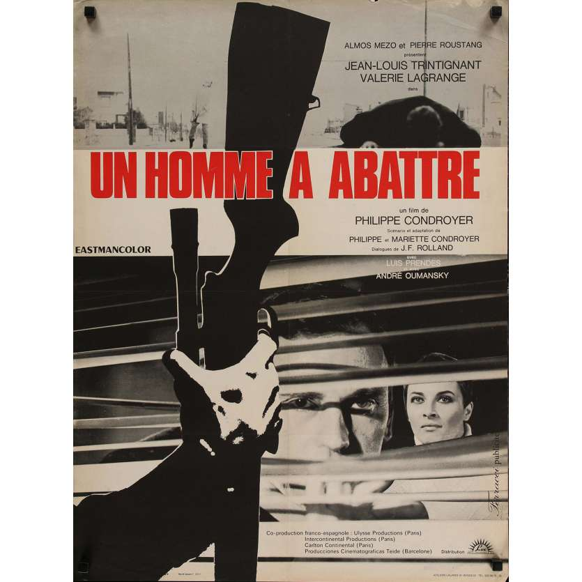 A MAN TO KILL Movie Poster 23x32 in. - 1967 - Philippe Condroyer, Jean-Louis Trintignant