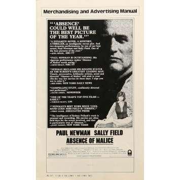 ABSENCE DE MALICE Dossier de presse 28x43 cm - 1981 - Paul Newman, Sydney Pollack