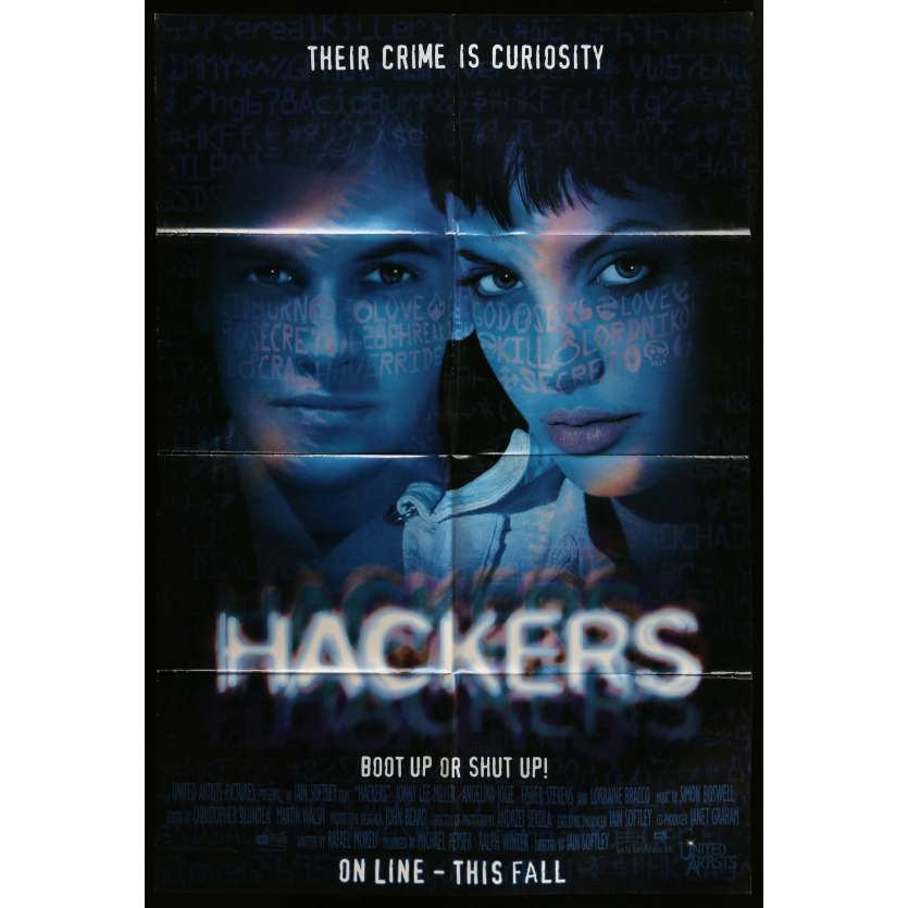HACKERS Affiche de film 60x80 cm - 1995 - Angelina Jolie, Iain Softley