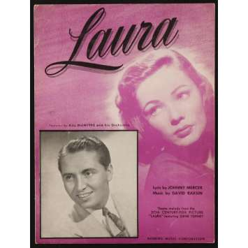 LAURA sheet music '44 close up of beautiful Gene Tierney, Otto Preminger, Laura!