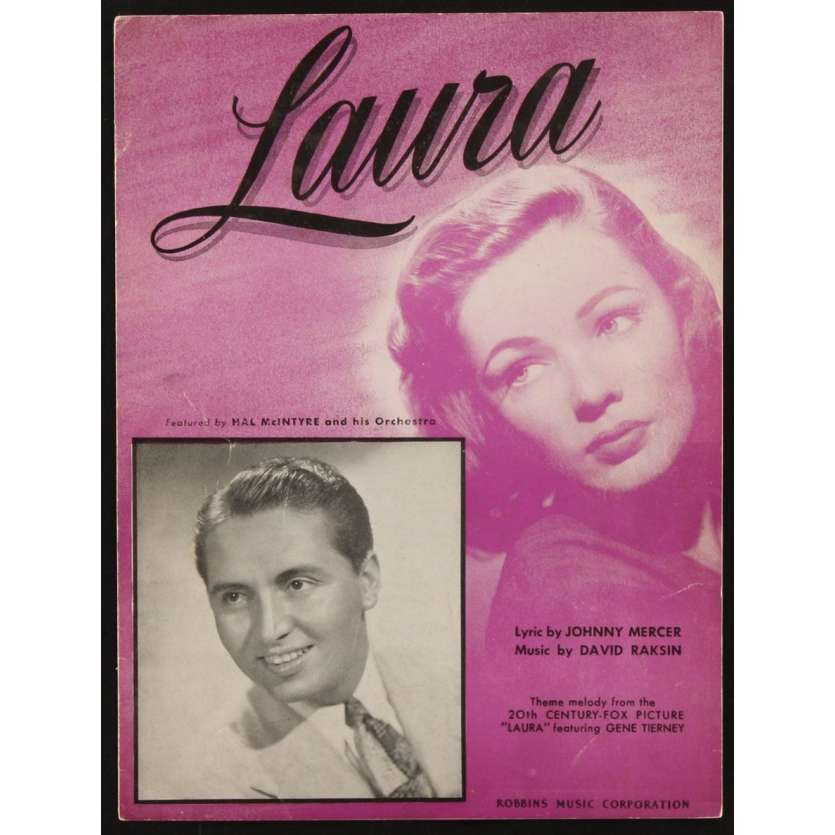LAURA sheet music '44 close up of beautiful Gene Tierney, Otto Preminger, Laura!