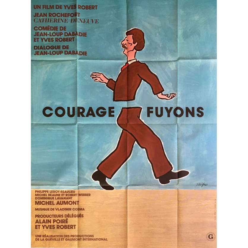 COURAGE LET'S RUN French Movie Poster 47x63 - 1979 - Yves Robert, Catherine Deneuve