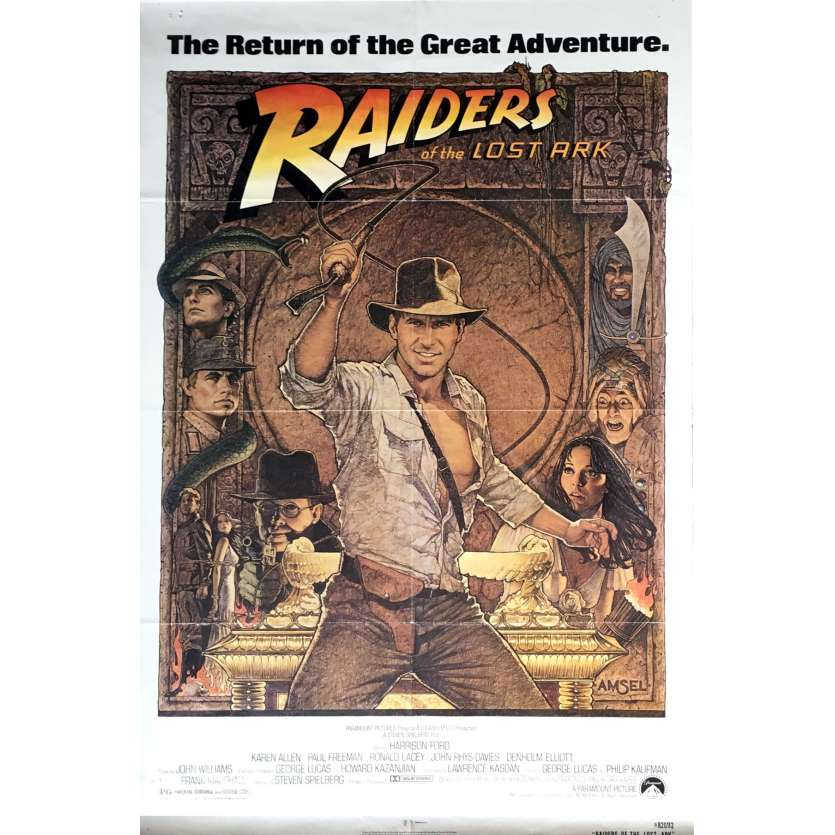 INDIANA JONES - RAIDERS OF THE LOST ARK US Movie Poster 29x41 - R1982 - Steven Spielberg, Harrison Ford
