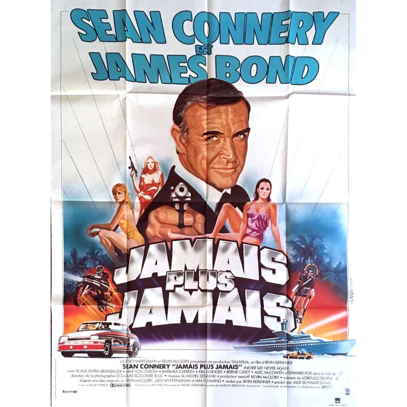 JAMAIS PLUS JAMAIS Affiche de film 120x160 - 1983 - Sean Connery, 007 James Bond