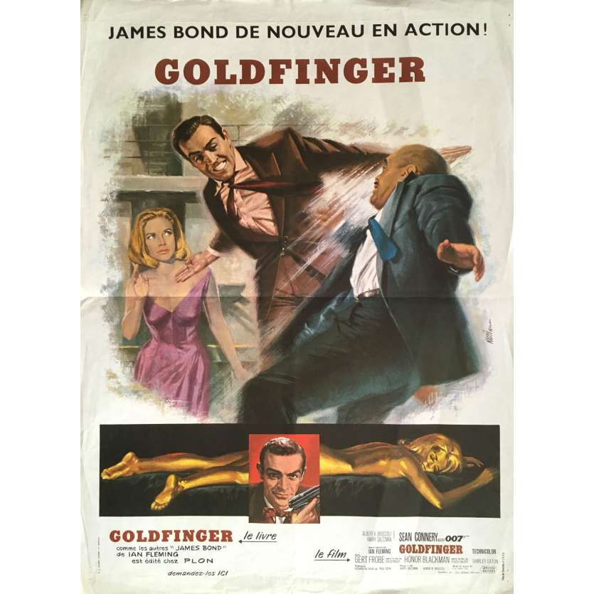 GOLDFINGER French Movie Poster 15x21 - R70 - Guy Hamilton, Sean Connery