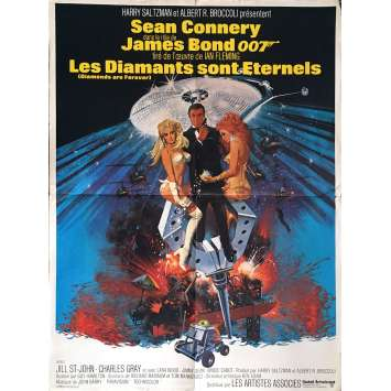 DIAMONDS ARE FOREVER French 23x32 art of Sean Connery as James Bond by Robert McGinnis!