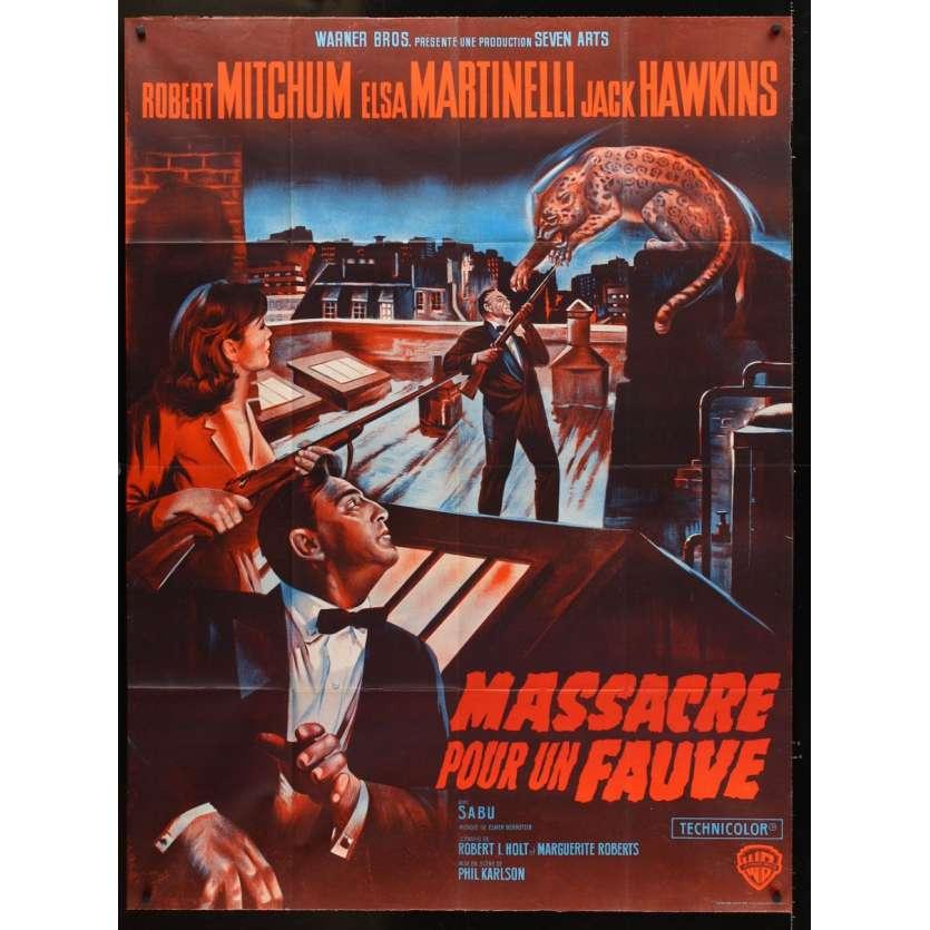 ROBERT MITCHUM Massacre pour un Fauve Affiche du film française FR 1964 Film d'aventure