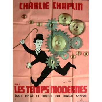 MODERN TIMES French Movie Poster 47x63- R-1970 - Charlie Chaplin, Charlie Chaplin