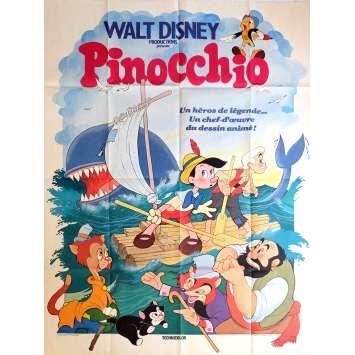 PINOCCHIO Affiche de film 120x160 cm - R1978 - Mel Blanc, Disney