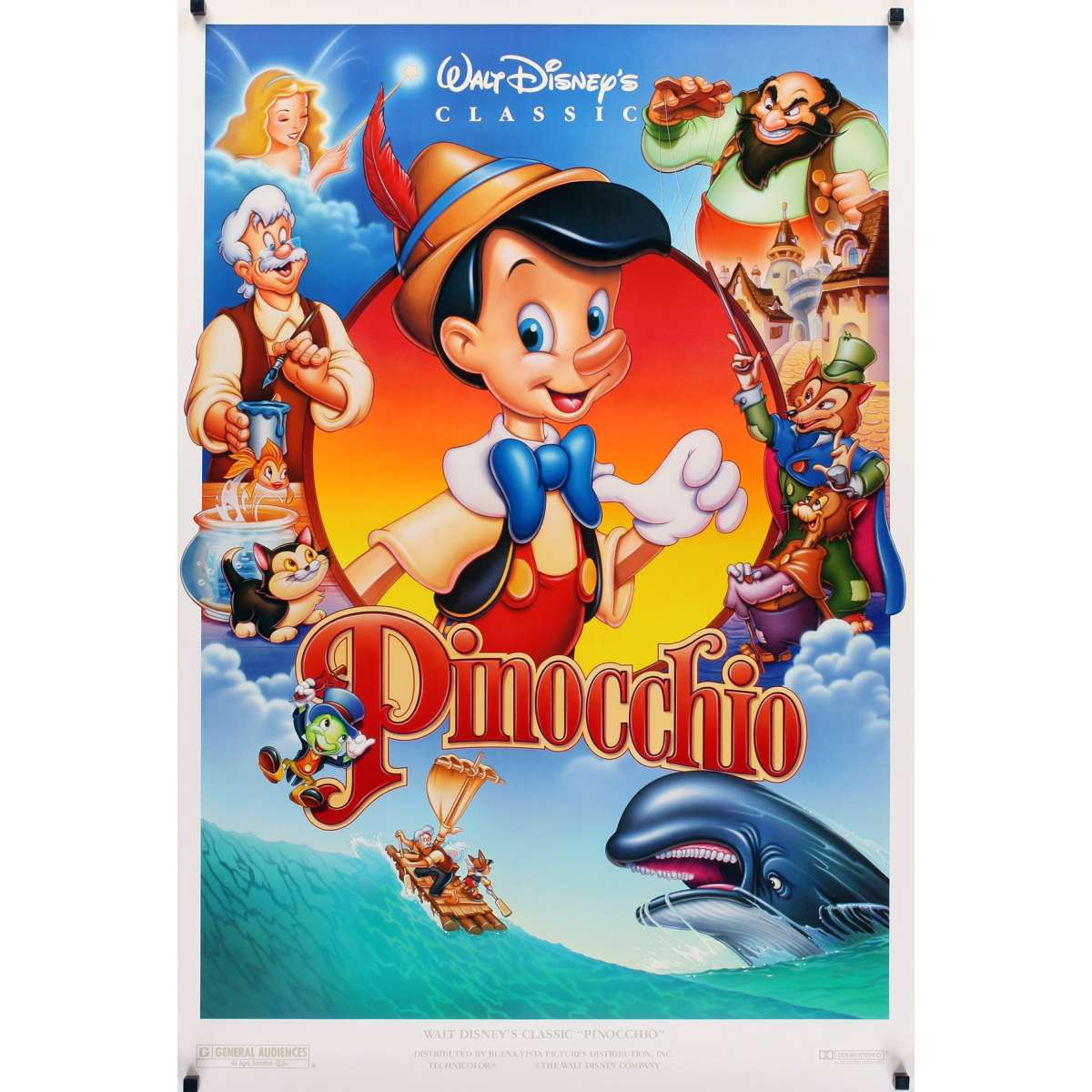 PINOCCHIO DS Movie Poster R92 Disney Classic Fantasy Cartoon About A Wooden Boy Who Wants To Be