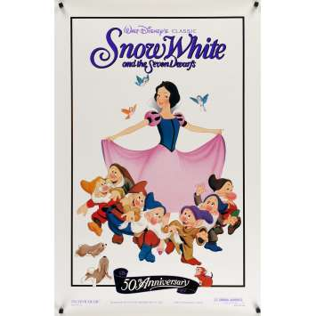 SNOW WHITE & THE SEVEN DWARFS foil Movie Poster R87 Walt Disney animated cartoon fantasy classic!