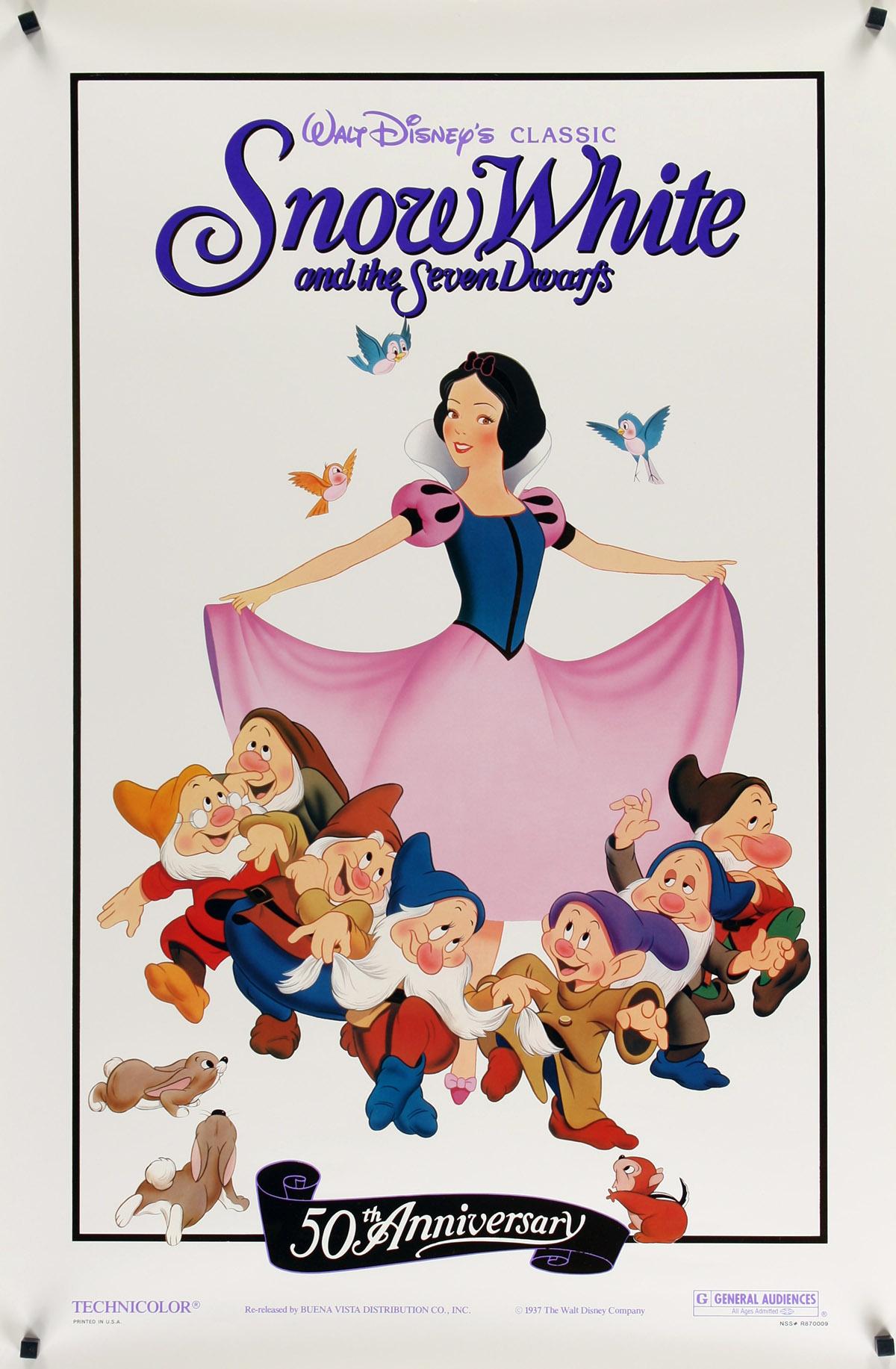 SNOW WHITE THE SEVEN DWARFS Foil Movie Poster R87 Walt Disney Animated Cartoon Fantasy Classic