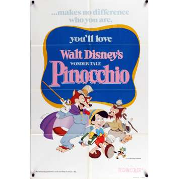 PINOCCHIO US Movie Poster 29x41 - R1978 - Disney, Mel Blanc