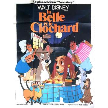 LADY AND THE TRAMP French Movie Poster 47x63 R1976 Walt Disney Classic