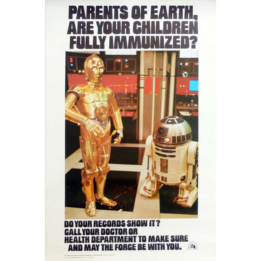 STAR WARS Affiche dpt santé US Hyper rare ! '77 C3P0 & R2D2 Health Department