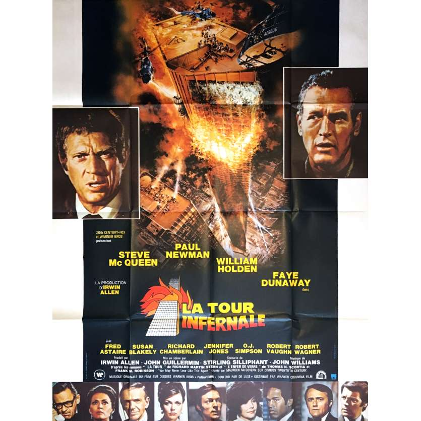 TOWERING INFERNO French Movie Poster 47x63 '74 Steve Mc Queen, Paul Newman