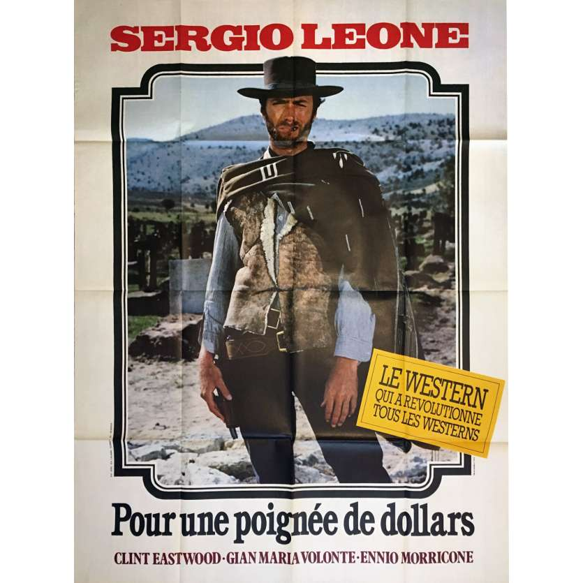 FISTFUL OF DOLLARS French Movie Poster 47x63 R80, Sergio Leone Clint Eastwood western spaghetti