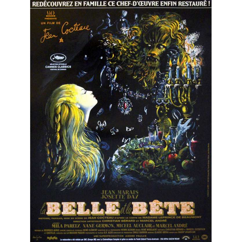 LA BELLE ET LA BETE French Movie Poster 15x21 R13 Jean Cocteau, Jean Marais