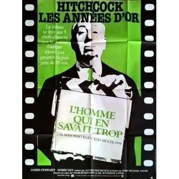 L'HOMME QUI EN SAVAIT TROP Affiche de film 120x160 cm - R1984 - James Stewart, Alfred Hitchcock