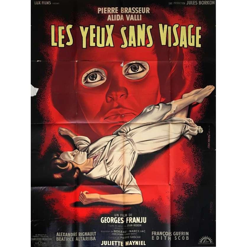 LES YEUX SANS VISAGE Affiche de film 120x160 - 1960 - Pierre Brasseur, Georges Franju
