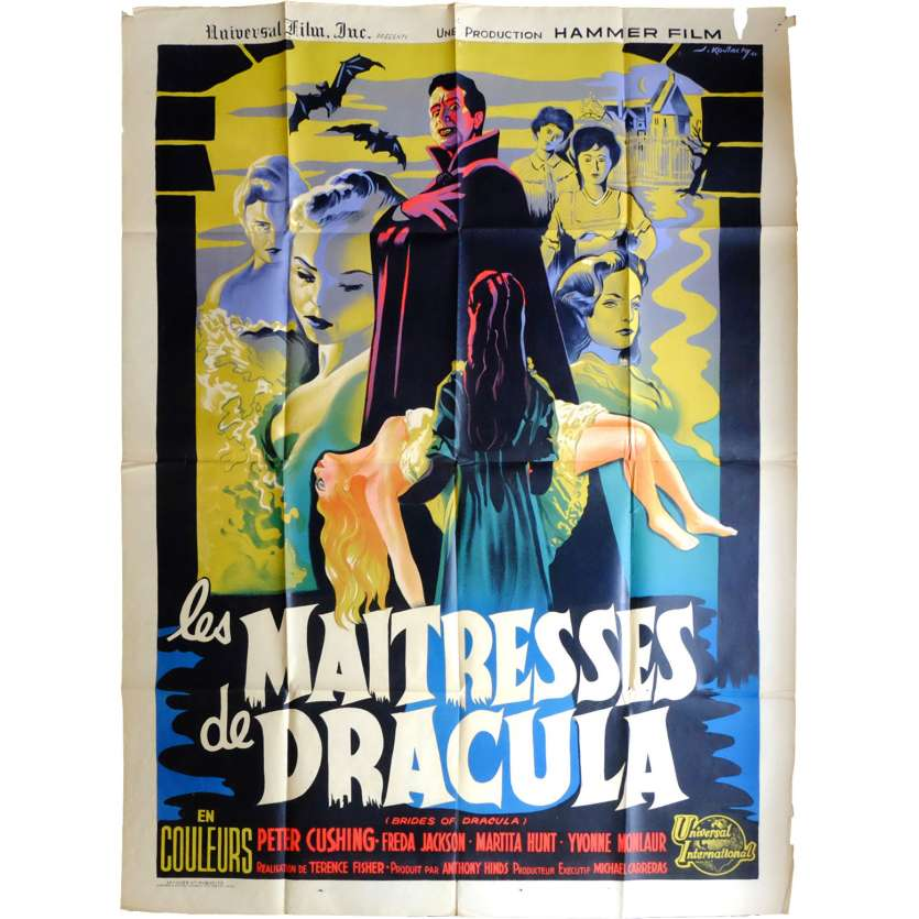 LES MAITRESSES DE DRACULA Affiche de film 120x160 - 1960 - Peter Cushing, Terence Fisher
