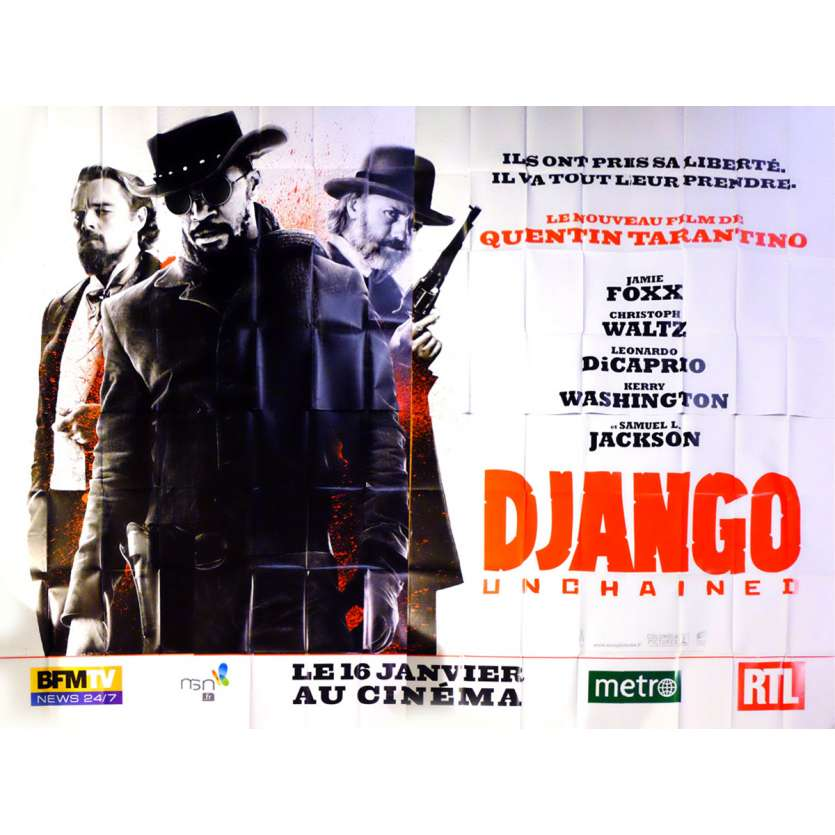 DJANGO UNCHAINED French Billboard Movie Poster 158x118 - 2012 - Quentin Tarantino, Lenardo DiCaprio