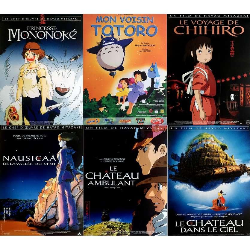 GHIBLI / MIYAZAKI Lot de 6 affiches de cinéma Originale 40x60 cm