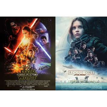 LOT STAR WARS - LE REVEIL DE LA FORCE / ROGUE ONE Affiches de cinéma 40x60 cm, roulées