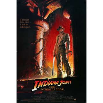 INDIANA JONES Affiche US '84 Spielberg, Harrison Ford, Original Movie Poster