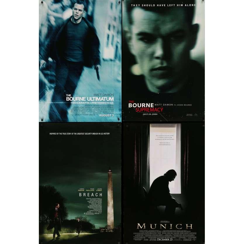 ESPIONNAGE - Lot de 4 affiches Cinéma Américaines Originales - Bourne, Munich
