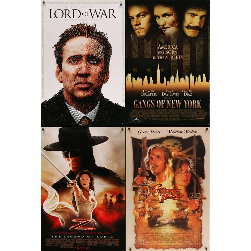 AVENTURES 1 - Lot de 4 affiches Cinéma Américaines Originales - Lord of War, Gangs of NY