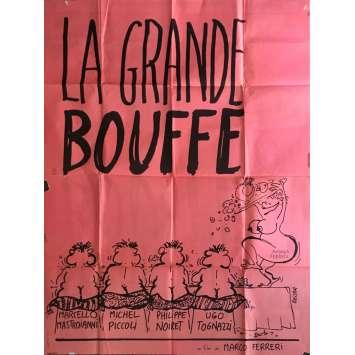LA GRANDE BOUFFE Affiche de film 120x160 cm - 1973 - Marcello Mastroianni, Marco Ferreri