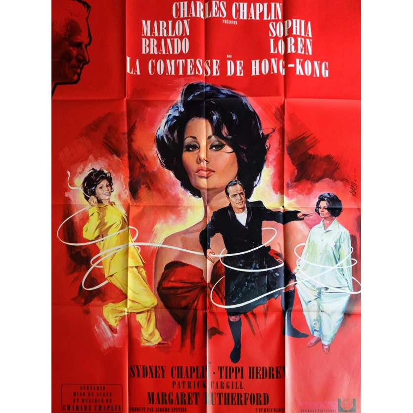 A COUNTESS FROM HONG-KONG French Movie Poster 47x63 - 1967 - Charlie Chaplin, Sophia Loren