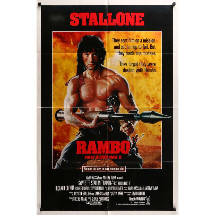 RAMBO 2 Affiche américaine originale roulée 1985 Sylvester Stallone Vintage Movie Poster