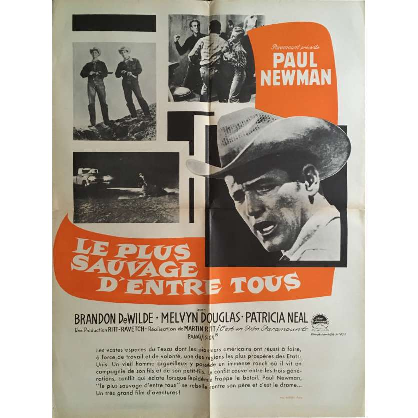 HUD Movie Poster 23x32 in. French - 1963 - Martin Ritt, Paul Newman