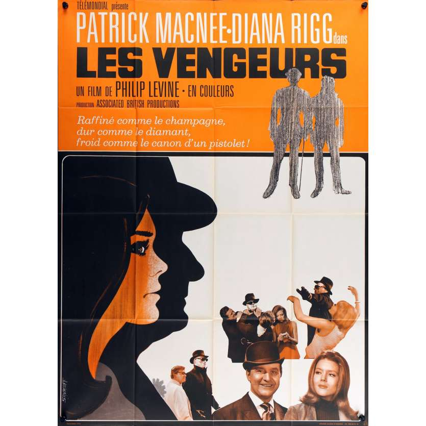 AVENGERS French Movie Poster 47x63 - 1968 - Diana Rigg, Patrick McNee